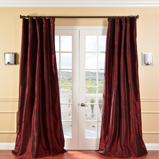 @Overstock - Defined by a unique sheen and fine weave, this exclusive faux silk taffeta curtain panel showcases a gorgeous, timeless design. This window panel has a crisp, smooth finish in a brilliant shimmering color.  http://www.overstock.com/Home-Garden/Solid-Faux-Silk-Taffeta-Syrah-120-inch-Curtain-Panel/5624156/product.html?CID=214117 $114.99