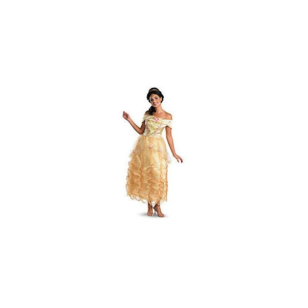 Adult Long Dress Belle Costume Beauty and the Beast ❤ liked on Polyvore featuring costumes, belle halloween costume, belle costume, adult halloween costumes, adult belle halloween costume and adult costumes