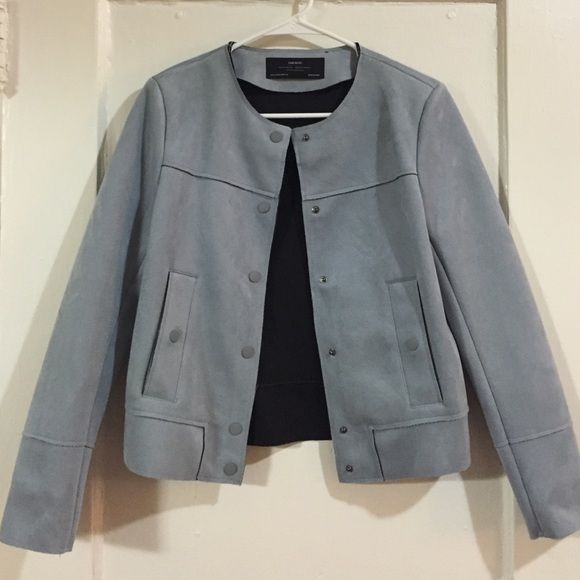 Blue Suede Zara Jacket Like new condition, only worn once! Soft suede material on outside, neoprene lining. Size XS. Zara Jackets & Coats