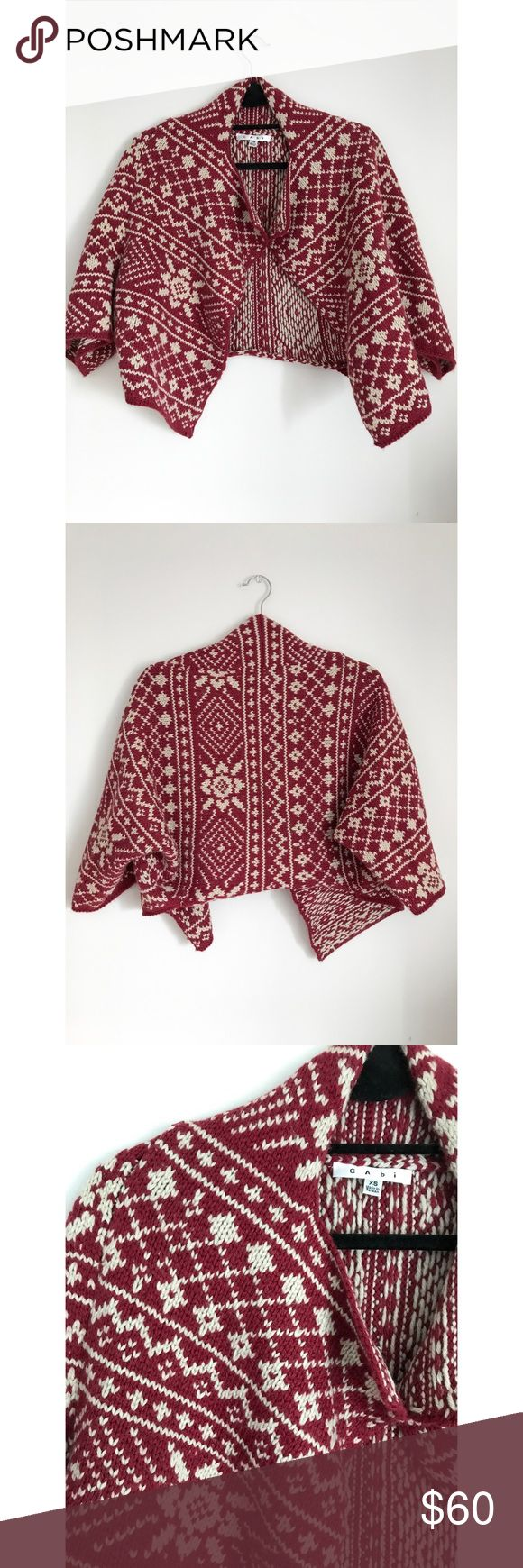 CAbi Slouch Red & White Comfortable Cowl/ Cardi New without tags. Can fit multiple sizes. Very comfortable. Soft. Warm. Good to wear as just a throw over. Tags located at top back and inside right. Made in Taiwan.   70% Acrylic 30% Wool  Hand wash cold  Lay flat to dry Steam iron   L: 17 in  W: 17 in S: 17 in  Please read shop policies before purchasing.  All clothing shipped pre-ironed/ washed/ lint-rolled. All items comes from a smoke-free & pet-free home.  Will lower price upon agreeing…