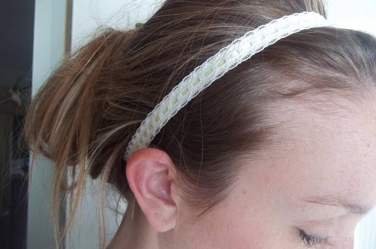 Lace headband with light yellow ribbon by tayleredforyou on Etsy, $8.00