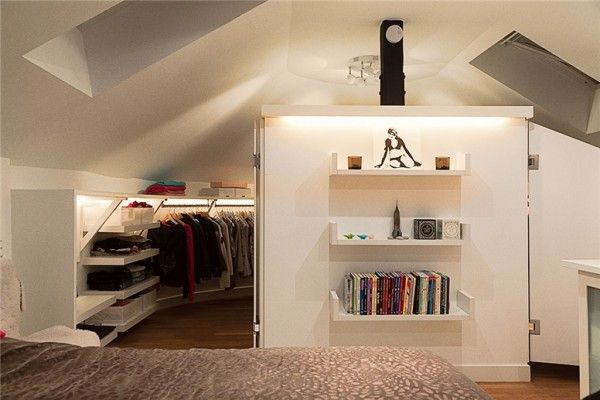 Stunning Loft Design with Attic Decoration : Wnderful Bedroom Walk In Closet Small Bookshelf Swedish Loft