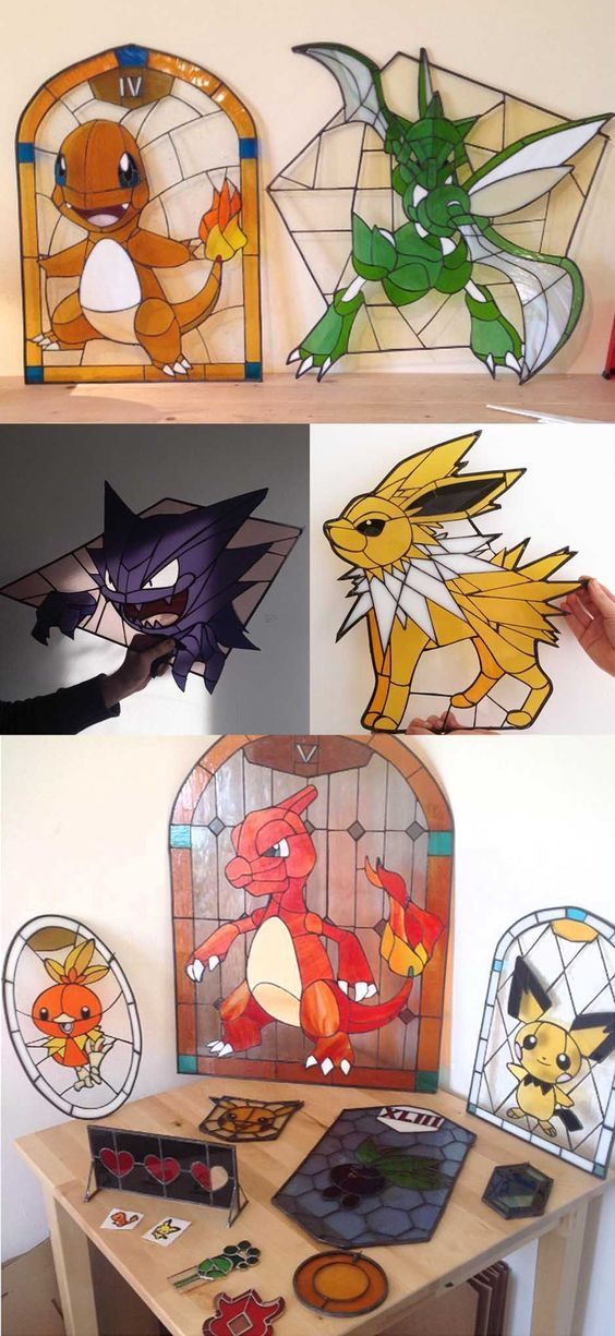 Pokemon Stained Glass #pokemon #nintendo #anime #mech #merchandise #stainedglass: