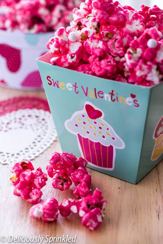 Easy Candy Popcorn makes a perfect Valentines Day treat on deliciouslysprinkled.com