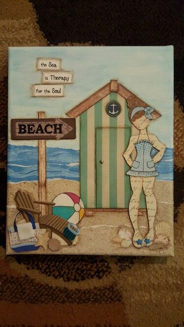 Julie Nutting doll stamp - Lila at the beach - mixed media on canvas