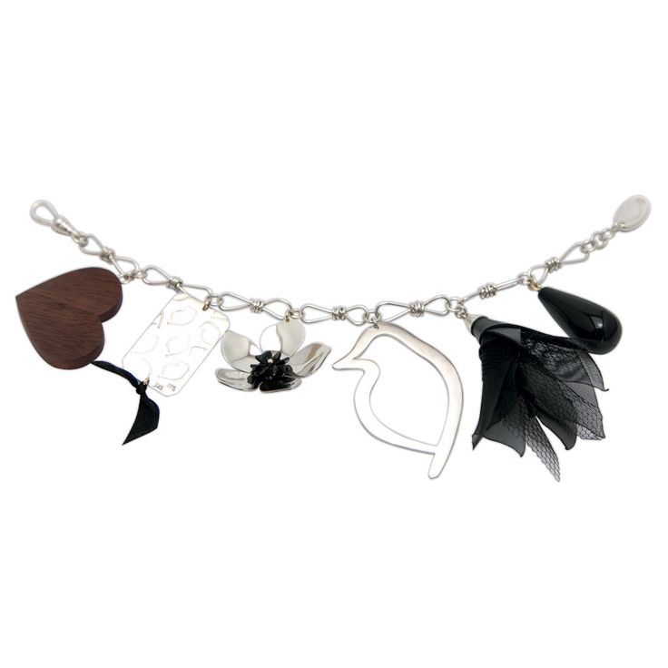 One of my favourites: The Everything Phoebe Charm Bracelet features sterling silver, onyx, timber, tulle and silk. #GemmaColesJewellery #handcrafted #bespoke