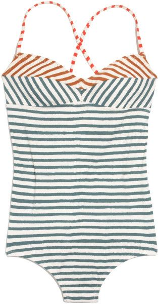 Madewell Blue Tanksuit in Crayon Stripe