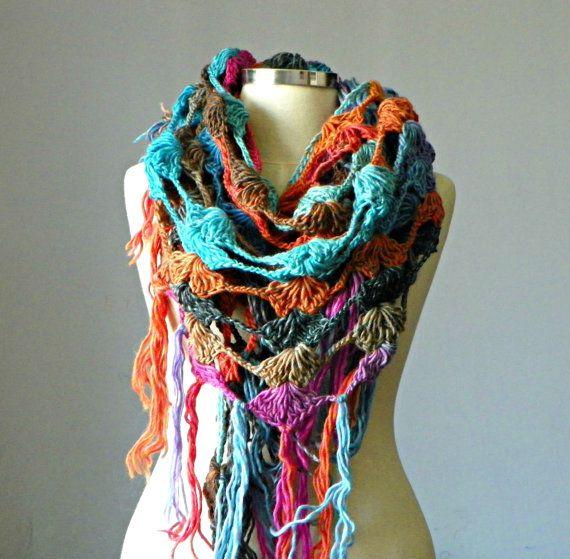 Crochet shawl scarf winter Neck Warmer multicolor by yarnisland, $24.50