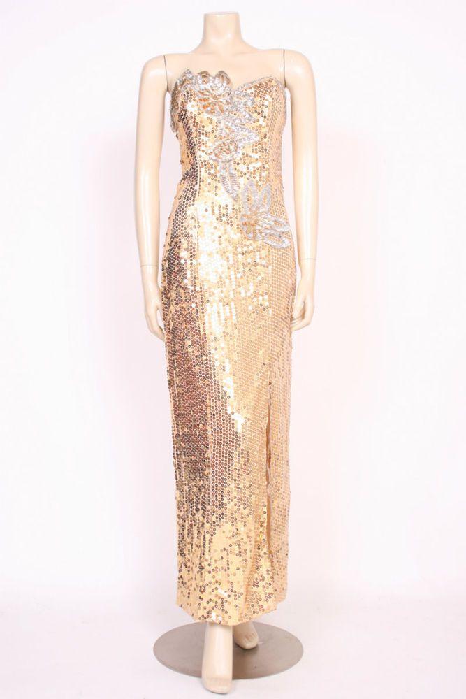ORIGINAL VINTAGE 1980's 80's GOLD SEQUINS LONG EVENING PARTY PROM DRESS! UK 10  | eBay