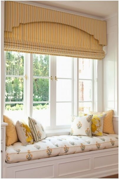 Window Seat, custom cornice and roman shades. designNashville.com shipping to you