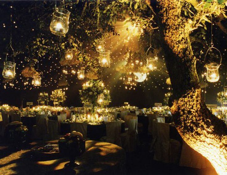 romantic night outdoor wedding decoration leading to the reception.