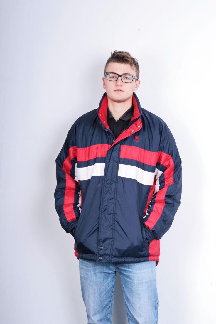 Fila Mens L Jacket Nylon Waterproof Retractable Hood Blue Vintage