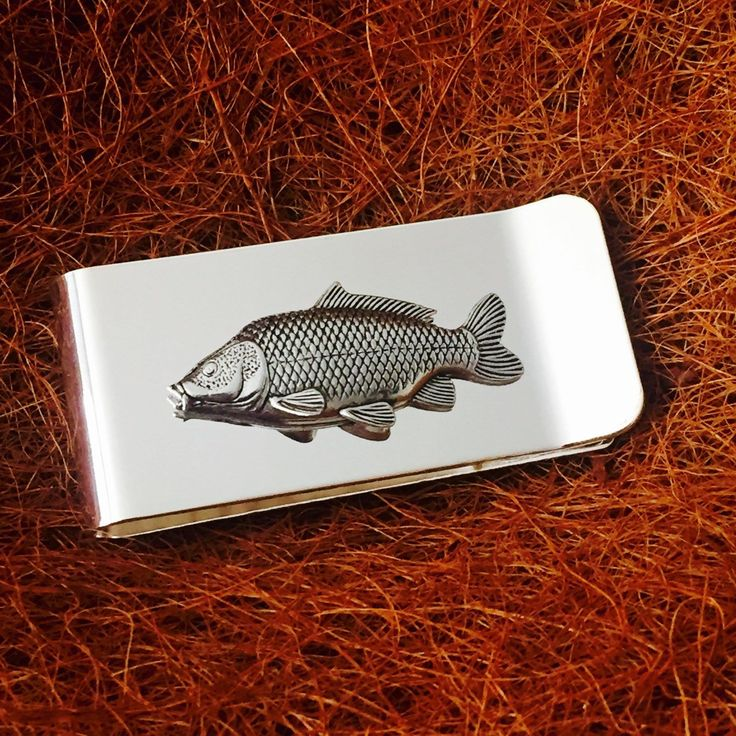 #Silver plated money clip with antique #pewter common carp fish #emblem,  View more on the LINK: http://www.zeppy.io/product/gb/2/152297097737/