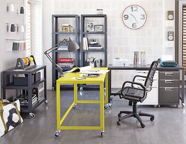 Metal, powder-coated.  CB2.  Love the one bright color.    20 Stylish Home Office Computer Desks