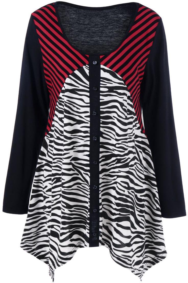 $20.82 Plus Size Striped and Zebra Asymmetrical T-Shirt