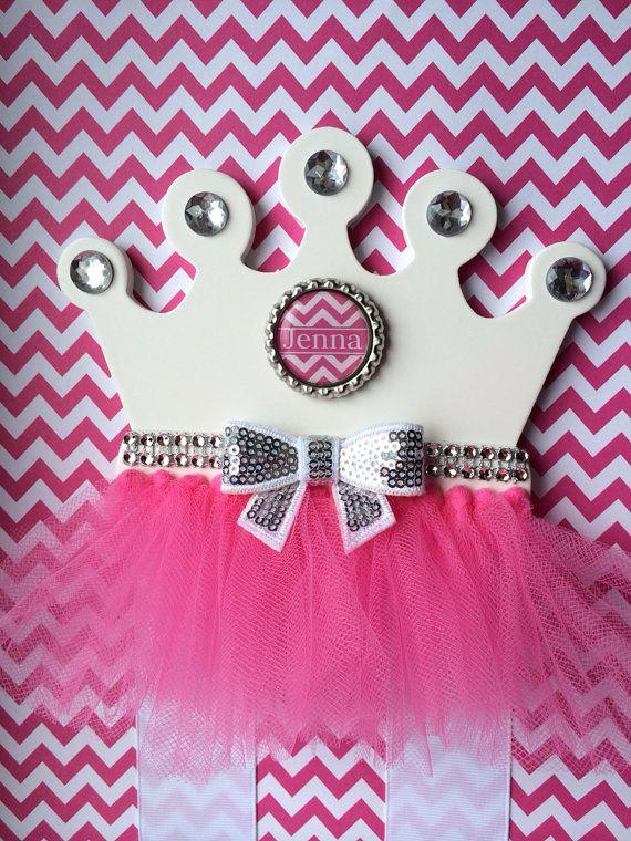 Hair Bow Holder Pink Princess Tutu Crown Hair by TheJMarieBoutique, $14.99