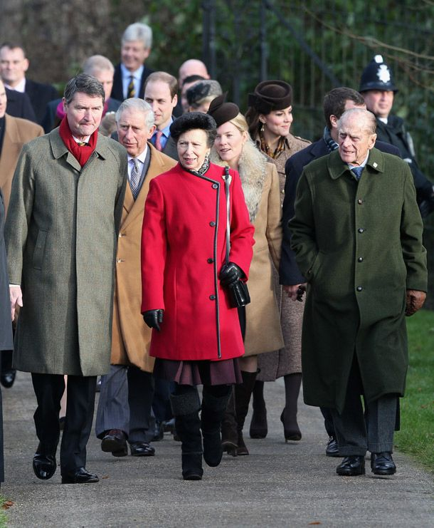 Princess Anne and her father Prince Philip lead the royals to church. Photo 6   Celebrity news in hellomagazine.com