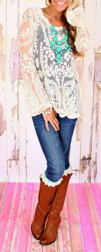 Cute Lace Blouse ,Blue Jeans With Brown Boots And Necklace