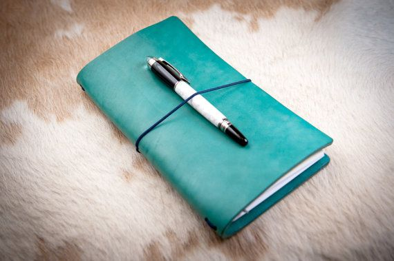 """Midori travelers notebook, Personalized leather journal, Fauxdori cover, Midori travelers notebook cover, """"Orient forest green"""""""
