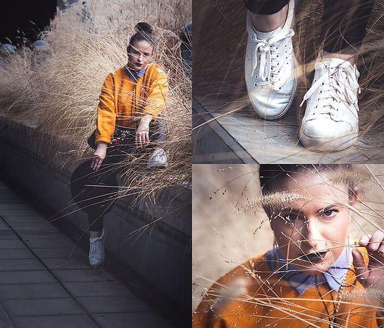 Get this look: http://lb.nu/look/8622563  More looks by Jules: http://lb.nu/juliaharrer  Items in this look:  Zara Cropped Jumper, Zara Bag, Mango Fedora Hat, Calzedonia Leggings, Mango Sneakers, & Other Stories Earrings, Bershka Choker, Bershka Shirt   #casual #chic #sporty #cornfield #spring #austria #neonorange #orange #babyblue