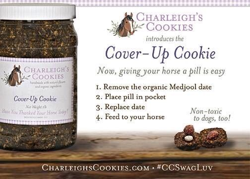 Charleigh's Cover-Up Cookie- SAFE for dogs as well as horses! #horsecookies #horsetreats #coverupcookie #charleighscookies #nontoxictodogs