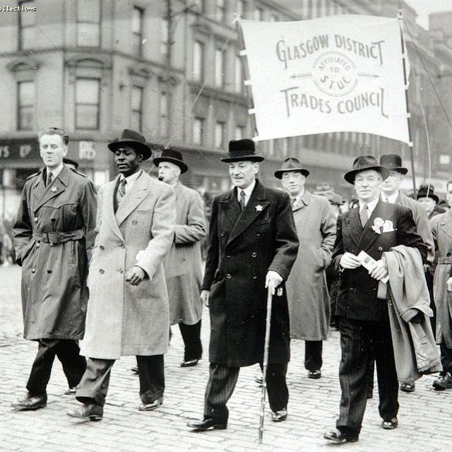 Clement Attlee leading the May Day March in Glasgow, 1946.