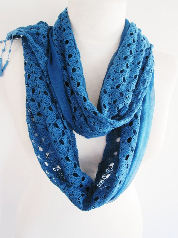 Cotton Lace and Chiffon Shawl  Scarf Blue  by mediterraneanlights
