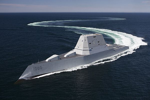 The future guided-missile destroyer USS Zumwalt (DDG 1000) transits the Atlantic Ocean during acceptance trials April 21, 2016 with the Navy's Board of Inspection and Survey (INSURV).