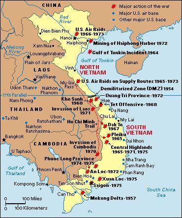 Vietnam War Maps of Bases | Vietnam War: Major Battles.
