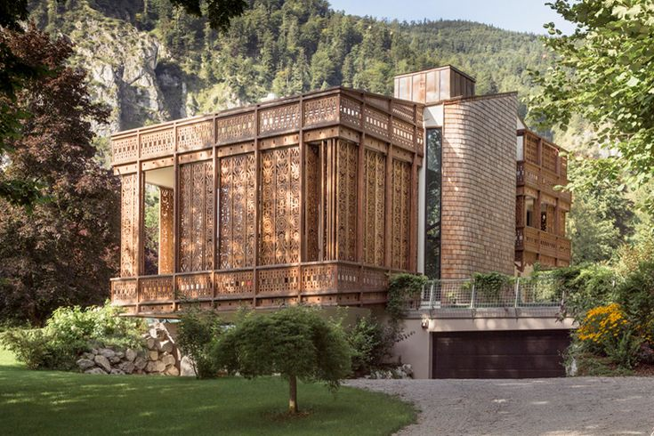 private residence by alexander diem features patterned timber façade