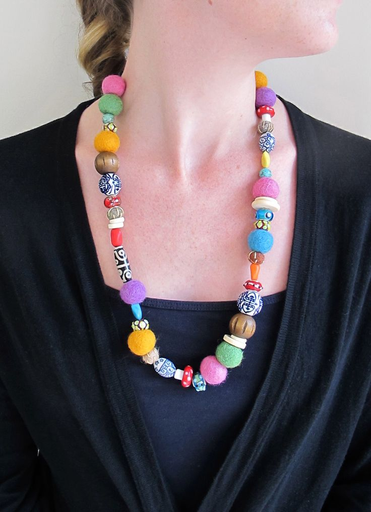 Beaded Necklace - Felt Beads Ceramic Beads Glass Beads -Colourful Jewellery - Bead Jewelry by ScrunchDesign on Etsy