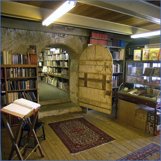 Baldwin's Book Barn, West Chester PA by Jim.jpg on Flickr -- built in 1822 & is a five-story building which exudes bookish charm with it's cozy nooks, stone walls, friendly atmosphere, wood-burning stove, & shelf upon shelf of books, maps, & prints. Baldwin's Book Barn is an inveterate and unique institution of Chester County, Pennsylvania where people have come for decades to buy and sell books.