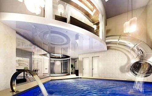 Bedroom with pool in it.