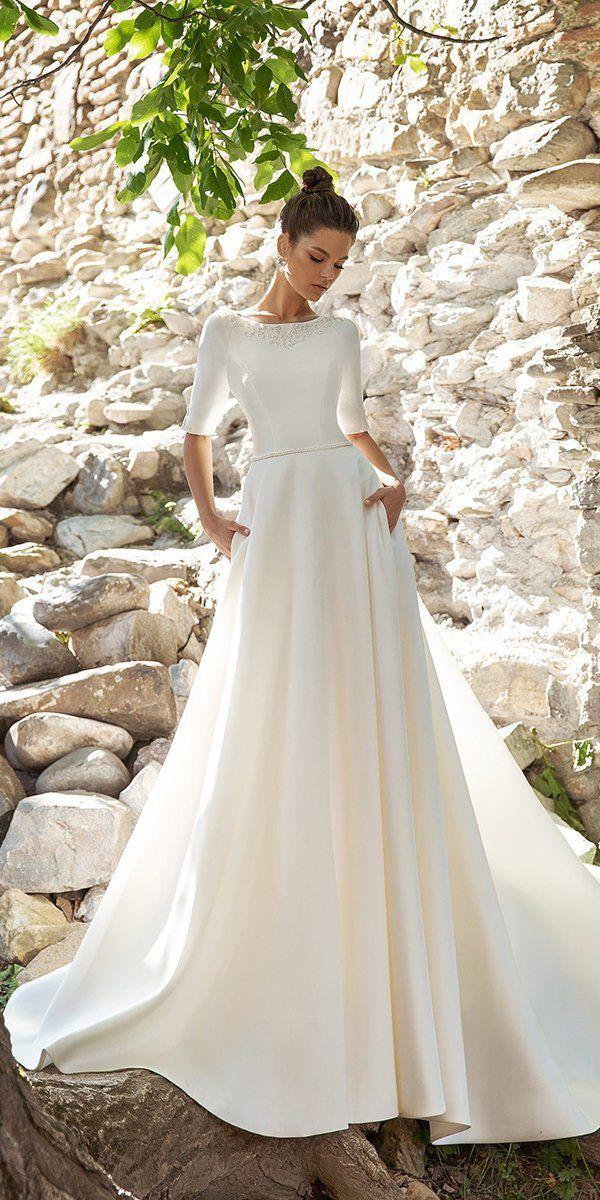 33 Cute Modest Wedding Dresses To Inspire Wedding Forward In 2020 Modest Wedding Dresses Boho Wedding Dress Wedding Dresses Lace