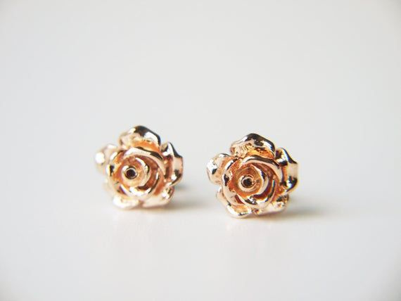Rose Gold Rose Flower Stud Earrings Rose Valentine Love Rose Earrings Black Gold Jewelry Stud Earrings
