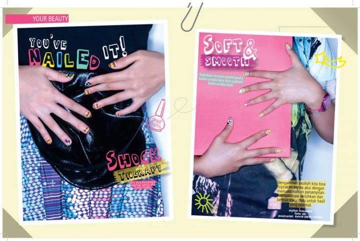 Have Fun with Colors at Kawanku Magazine. #FirstDebut #NailArt #TsumeNoDiary #TsumeChan #Skull #Colorful #Photoshoot #Magazine #Kawanku #Lollipop #Colorfull #Punk #Style