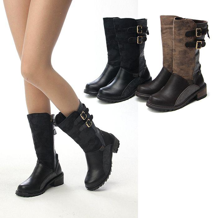 ladies boots for small calves | Ladies Double Bukle Accent ColorBlock Vintage Mid Calf Combat Boots ...