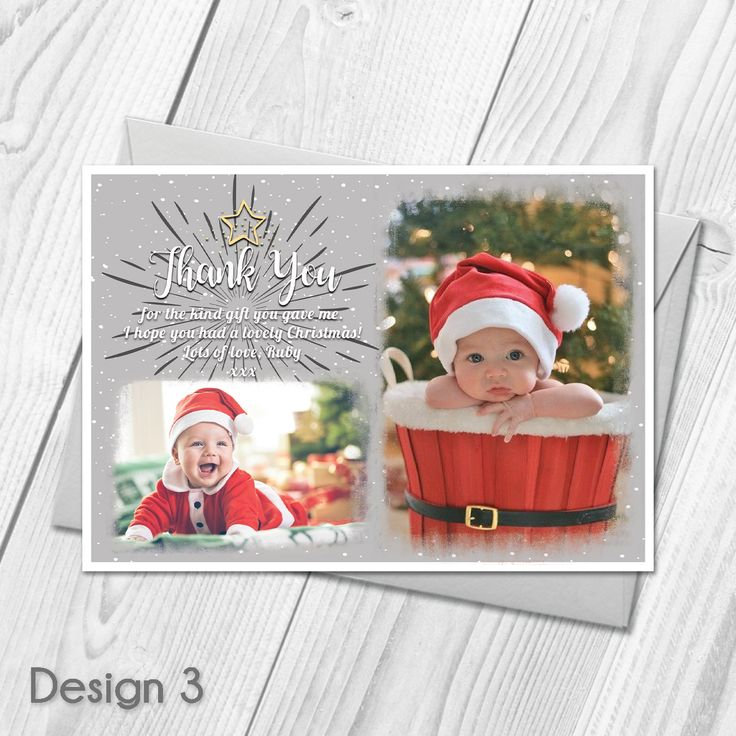 Personalised Christmas Thank You Cards Notes With Photo | Xmas Thank You Cards |   Custom Made With Your Own Wording |   All orders include FREE UK 1st Class Royal Mail delivery