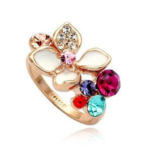 Magic Collection 18k Rose Gold Plated Multi Color Crystals & White Enamel Flower Cocktail Ring Size 5-9 Magic Collection. $1.99. The ring measures 18mm at its widest.. Please kindly be aware that the transportation time is about 17-28 days.