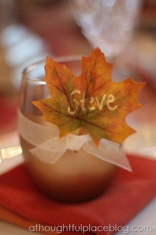 Votive and leaf placecard | a thoughtful place