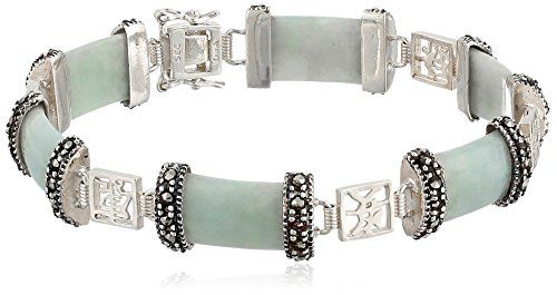 "Sterling Silver Marcasite Green Jade Six Lucky Wishes Link Bracelet, 7.5"":"