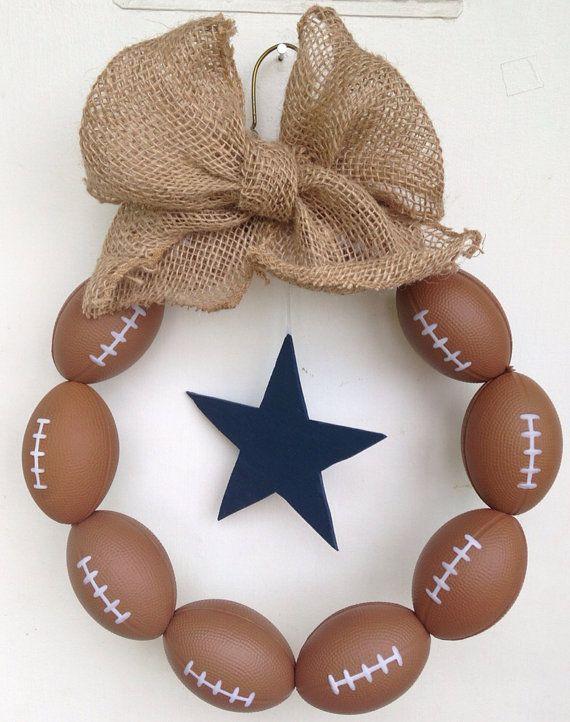 Dallas Cowboys Burlap Football Wreath