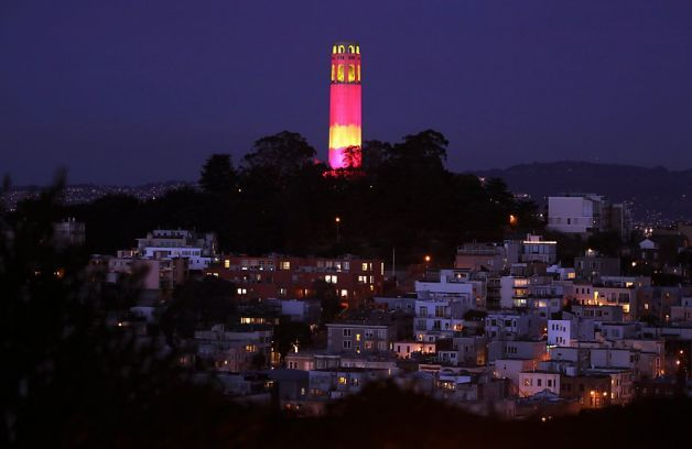 SF 49ers colors, but no players, in city - SFGate