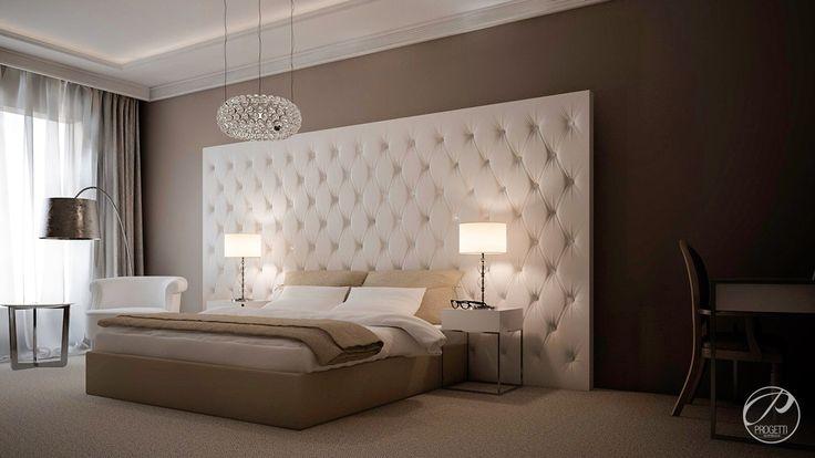 Dom jednorodzinny w Aninie.  Sypialnia w stylu glamour. Wnętrze z stonowanych beżach i brązach.  Progetti Architektura