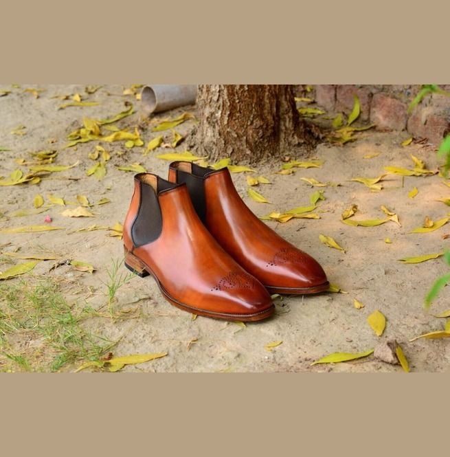 Handmade Men Tan Color Chelsea Leather Boots, Men Brogue Chelsea Boots, Men - Boots