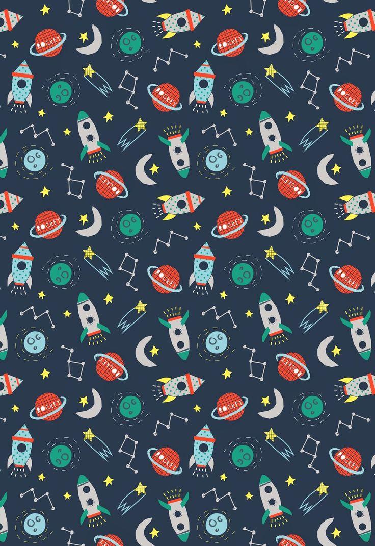 Espacial cohete noche estrellas luna