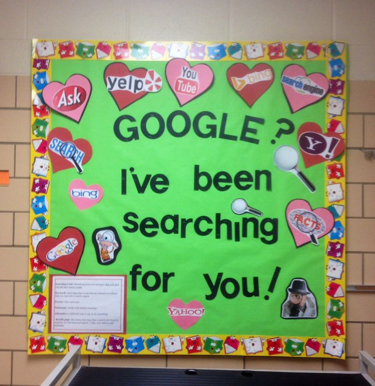 Search engine valentine's day February bulletin board technology with vocabu…