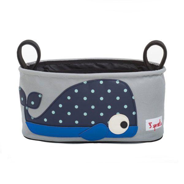 Cesta organizadora para la silla del cochecito del bebé con divertida ballena azul