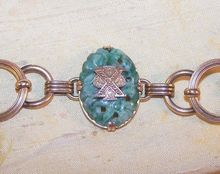 VINTAGE Chi Psi fraternity gorgeous jade bracelet, gold filled w/ pin emblem OLD