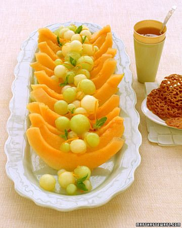 Melon with Orange-Ginger Syrup, love the look of this platter! just add watermelon balls for more color!